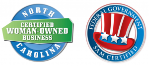 Certified Woman-Owned Business & SAM logos