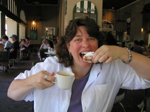 margot lester eats a beignet