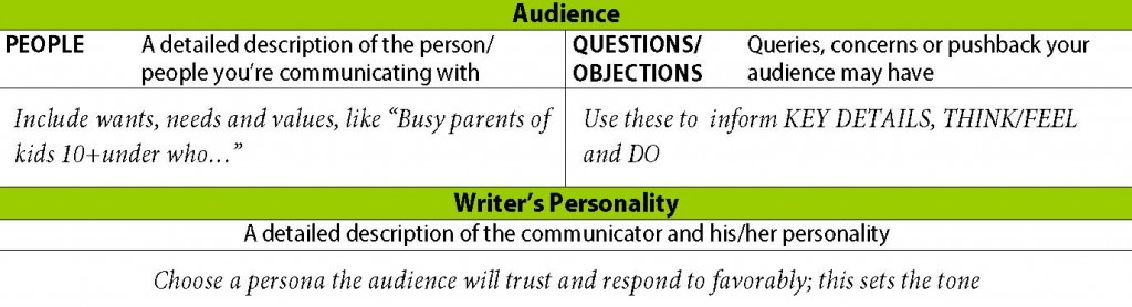 The audience and writer sections of the Content-Purpose-Audience Strategy ©.