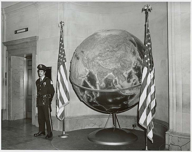 Photograph of the Terr-A-Qua Globe on Display at the National Archives, 1973