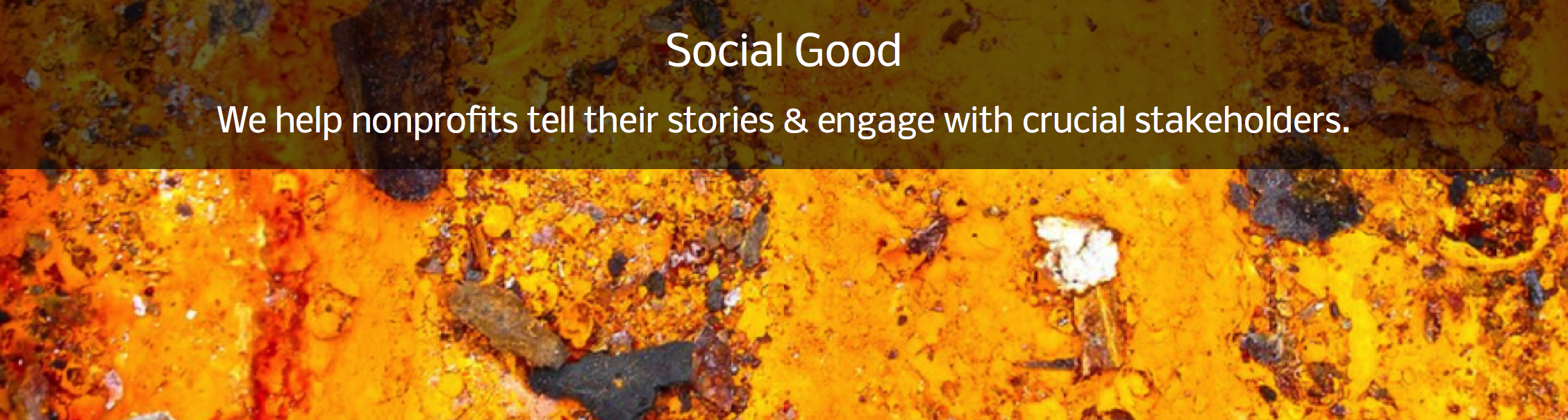 Awesome slider graphic for The Word Factory's Social Good page