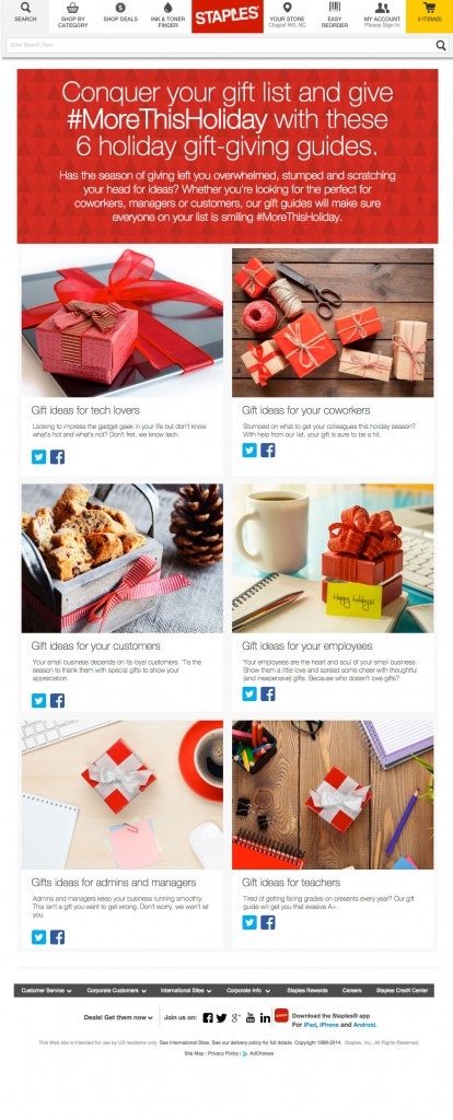 Staples Social Landing Page for Holiday Content