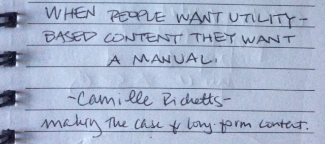 "Camille Ricketts: ""When people want utility-based content, they want a manual."""