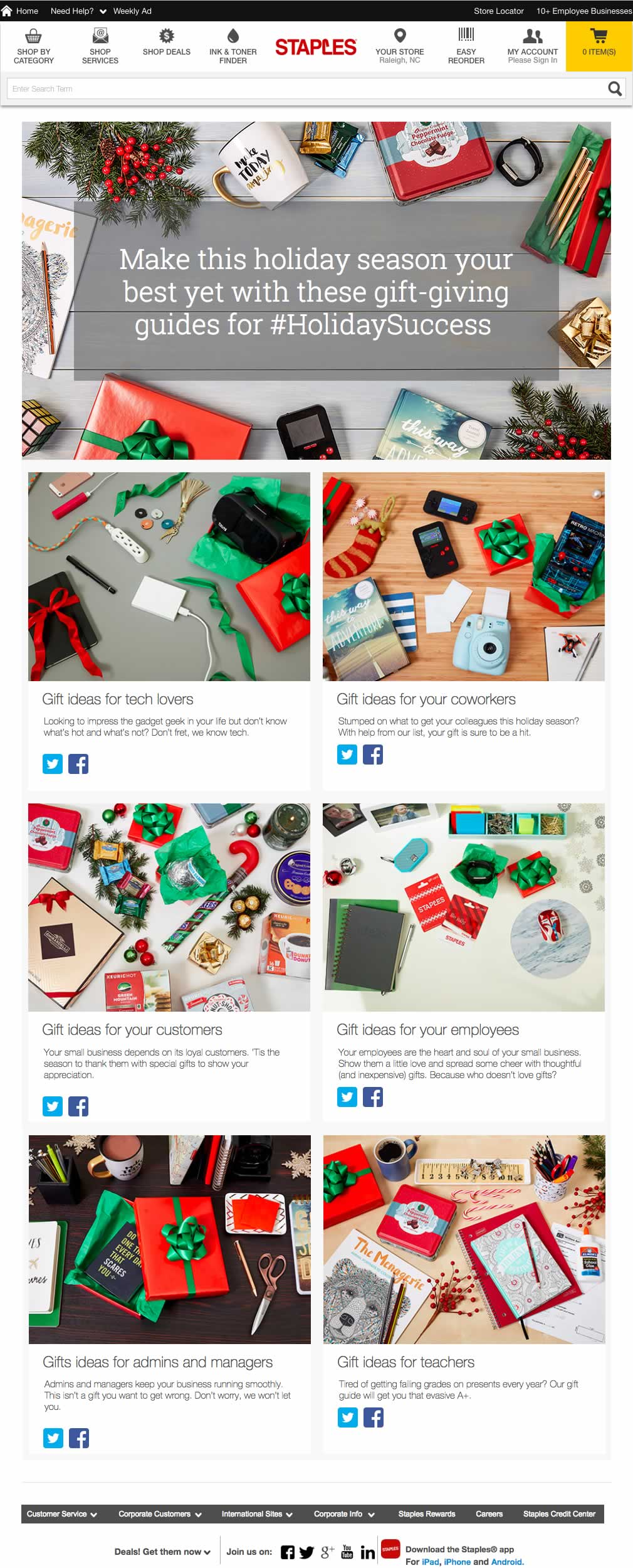 Staples social landing page for #holidaysuccess campaign, populated by The Word Factory
