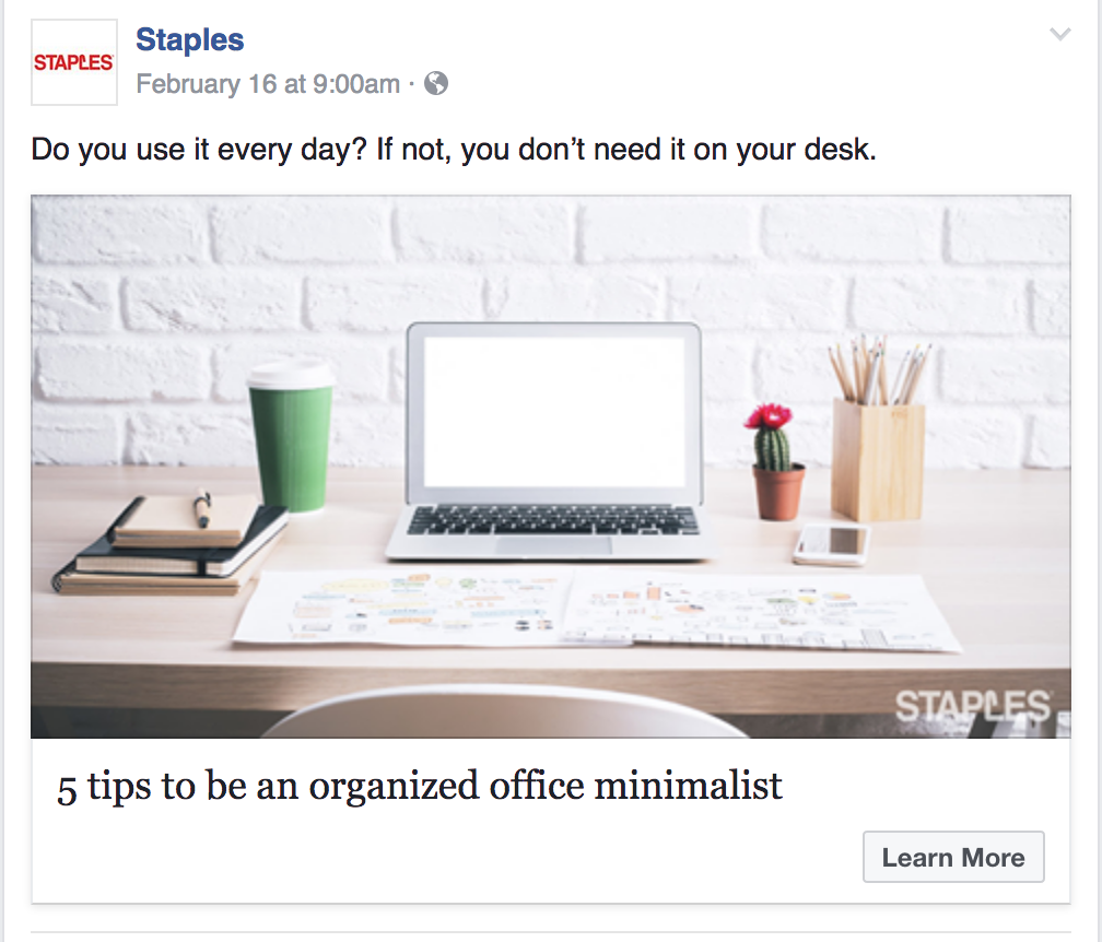 A Staples promo of an article The Word Factory wrote on office minimalism