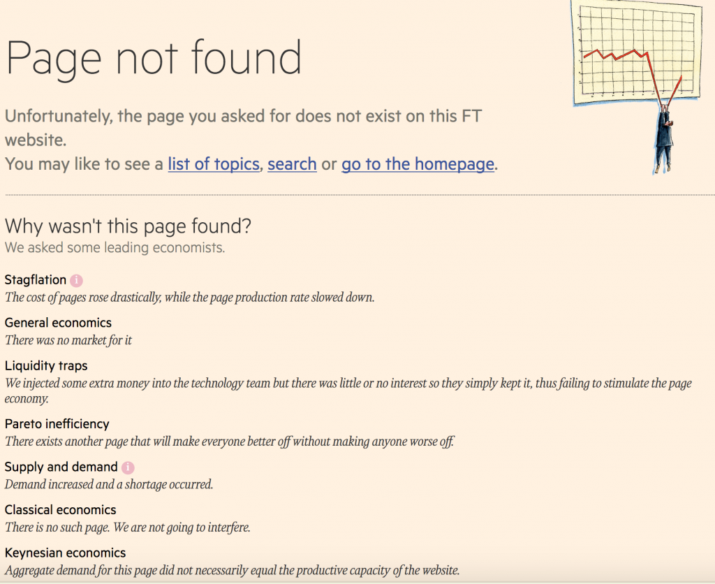 Screenshot of the Financial Times' 404 error page