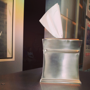 photo by Margot Lester of a tissue box at the Newseum's 9/11 exhibit