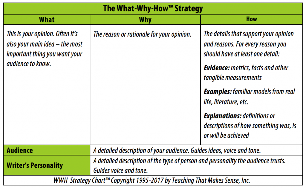 Template for the What Why How Strategy