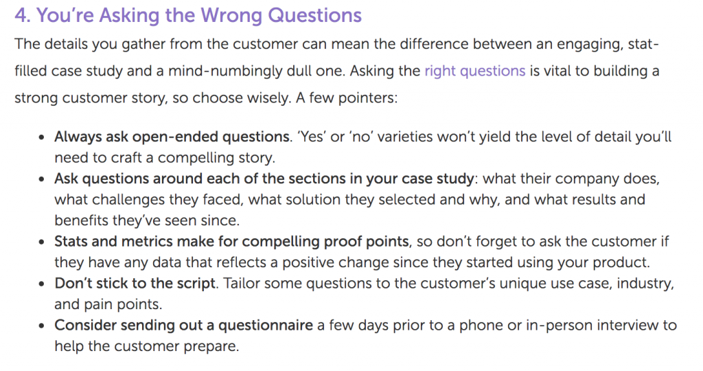 An excerpt from a Marketo post on case studies