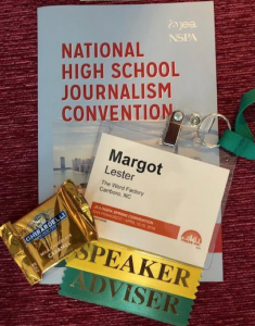 Margot Lester's badge from the National High School Journalism Convention