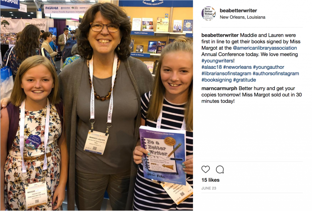 Margot Lester with young writers at the ALA Convention, June 2018