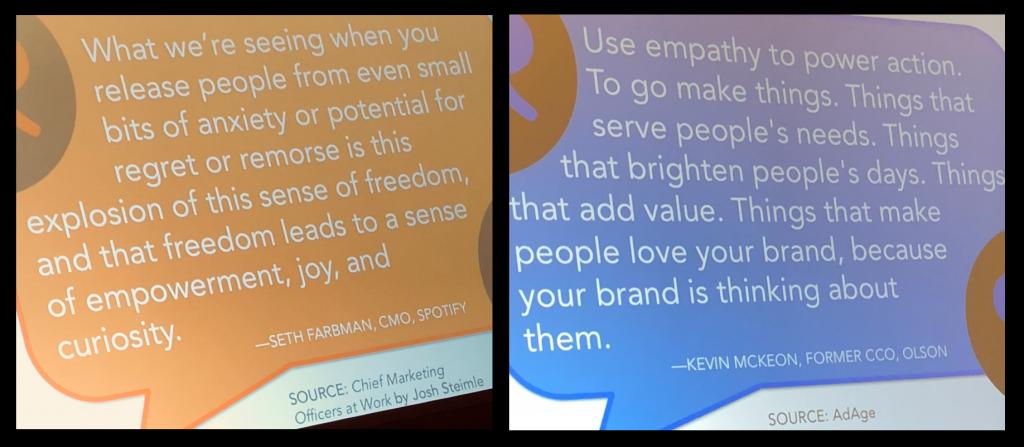 Two slides from Margaret Magnarelli's presentation at #CMWorld