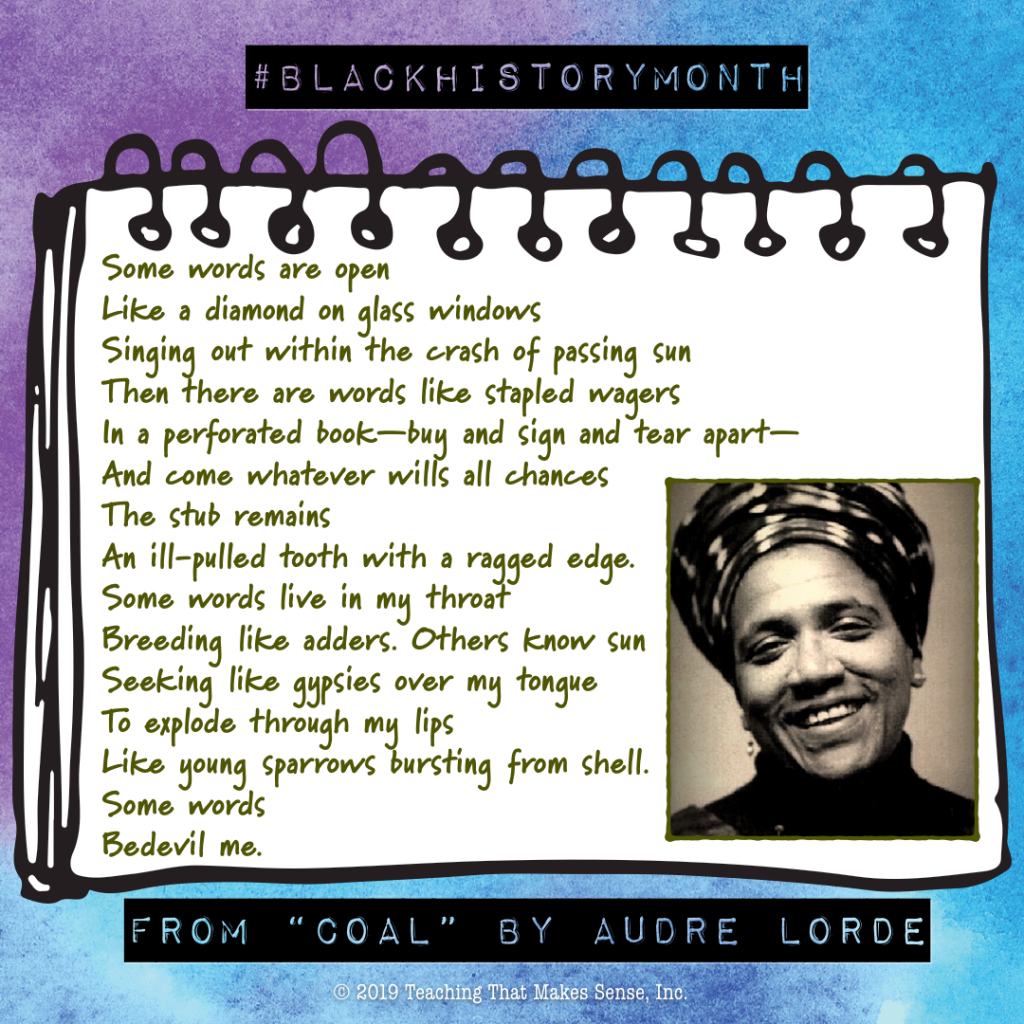 Lines from Audre Lorde's Coal on The Word Factory blog