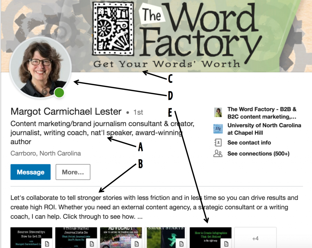 A screengrab of Margot Lester's LinkedIn profile illustrating a Word Factory blog post on optimizing your profile.