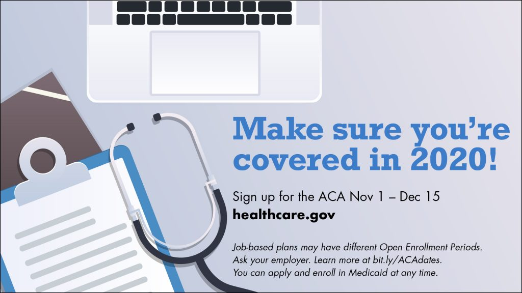 Facebook image promoting 2019 open enrollment, designed by Marc Borzelleca for The Word Factory. Permission to re-use for non-commercial use is granted.
