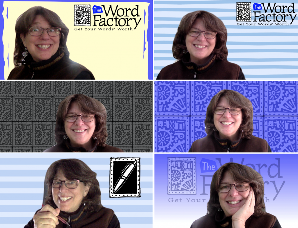 An array of custom Zoom virtual backgrounds for Margot Lester designed by Marc Borzelleca