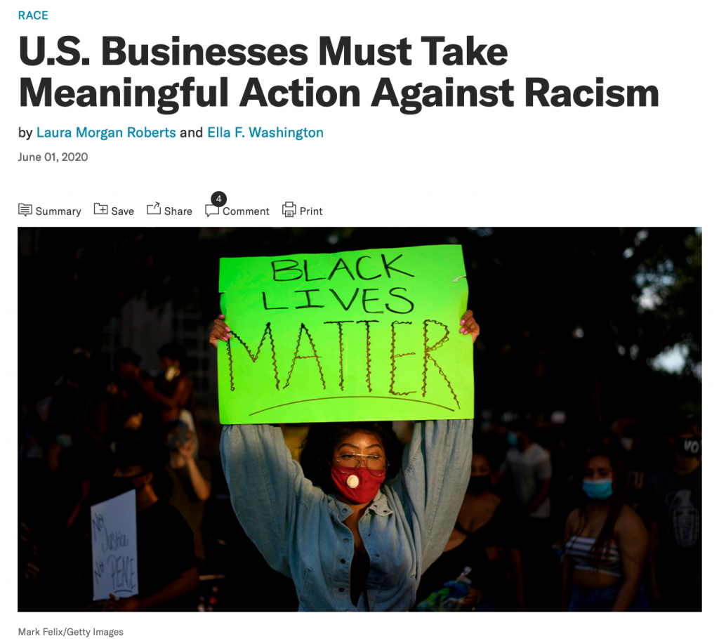 A screen grab of an excellent HBR article on taking meaningful action against racism.
